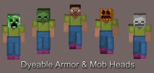 Dyeable Leather Armor & Mob Heads